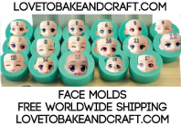Face mold, silicone face mould, Fairy face, Fairy mold, Kawaii face, set of 17 molds. Free shipping